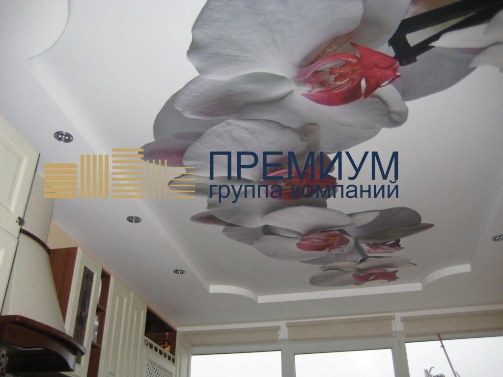 Натяжной потолок с рисунком  S= 17м2