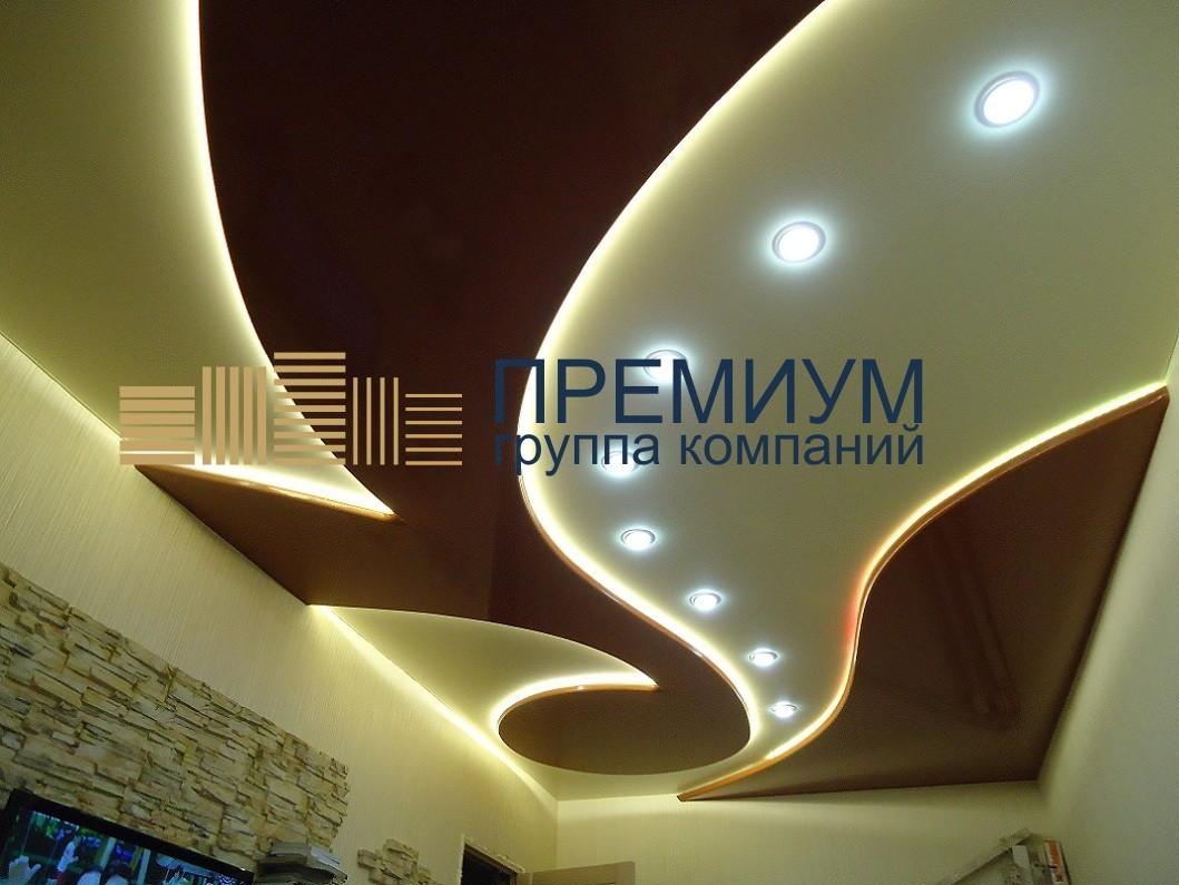 Натяжной потолок с диодной подсветкой S= 12м2