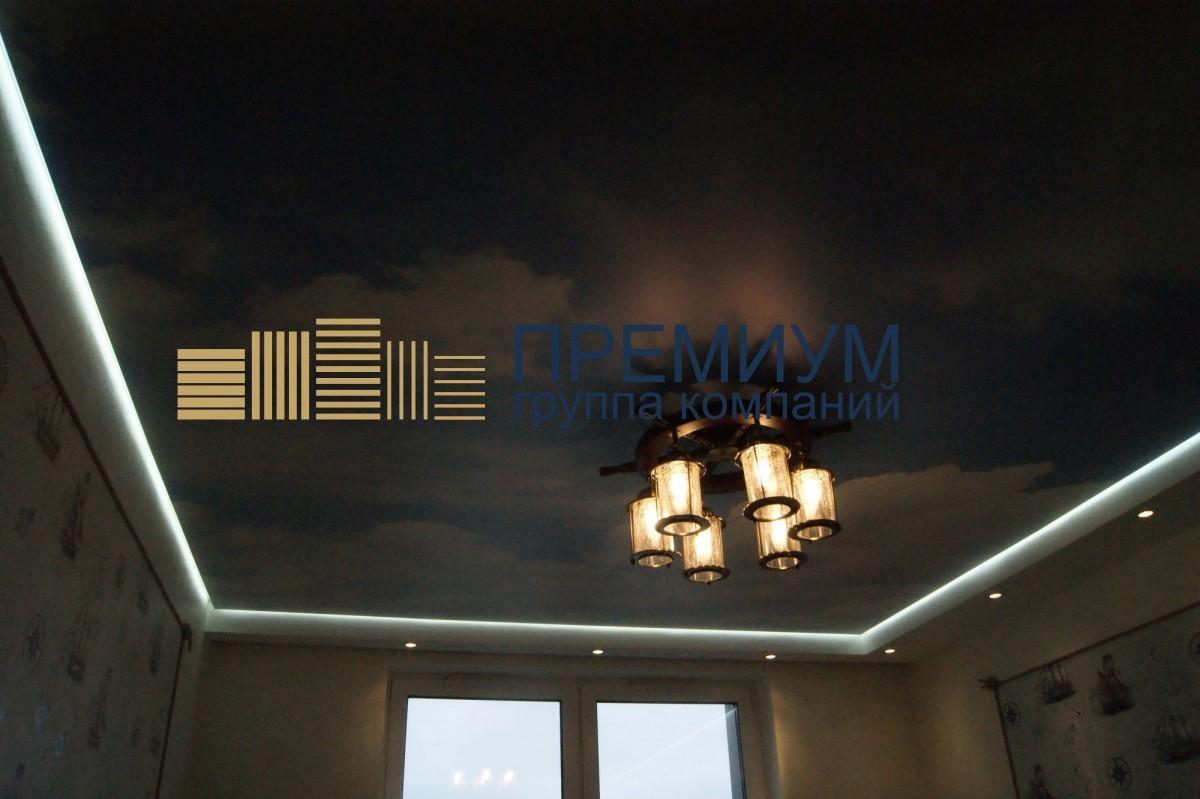 Светящийся натяжной потолок S= 12м2