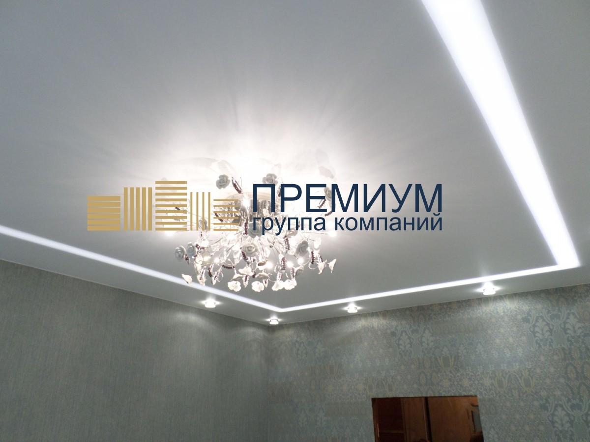 Световой натяжной потолок S= 16м2